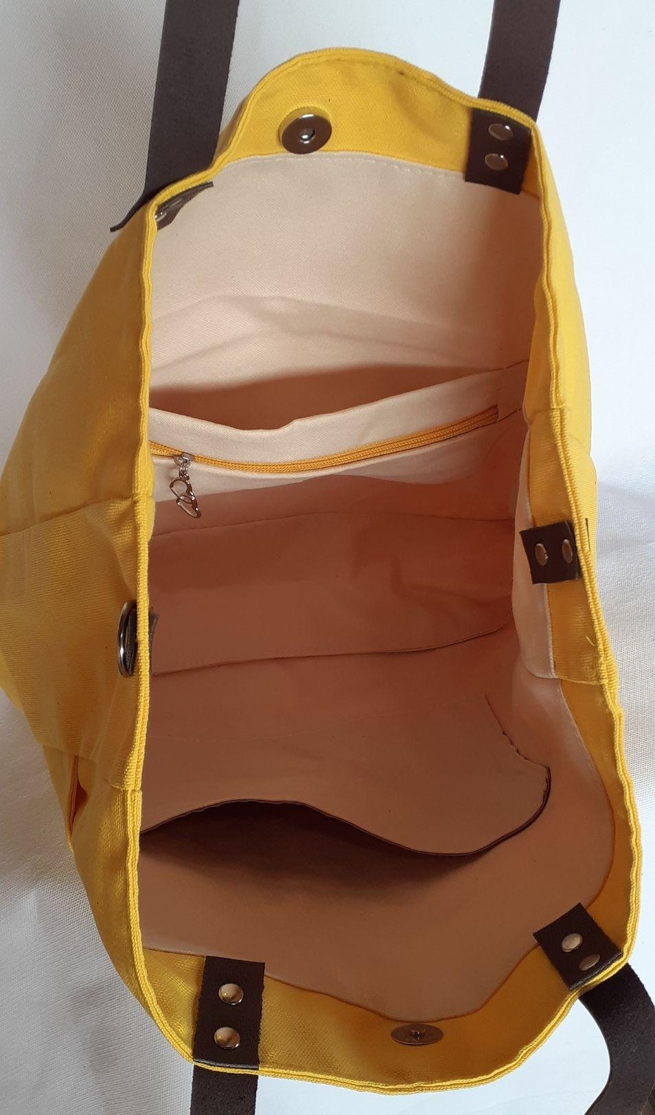 Bolsa maccril amarela de tecido