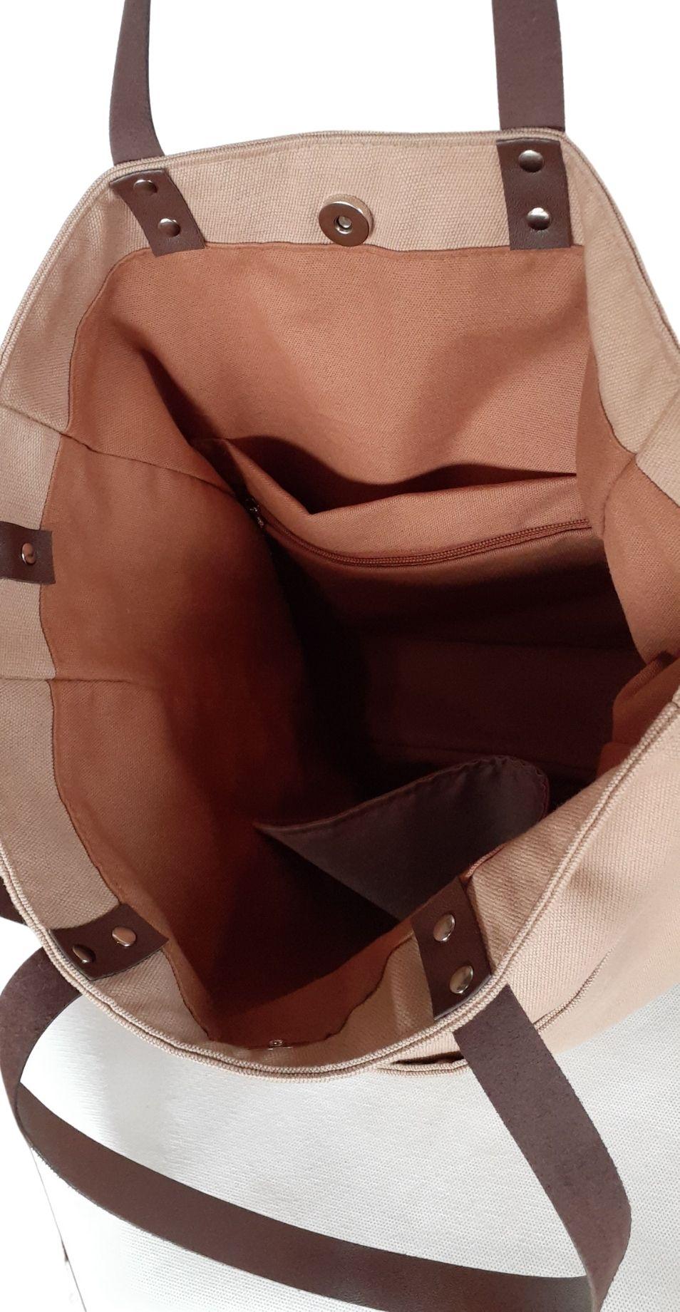 Bolsa/sacola maccril nude de tecido com alças de couro
