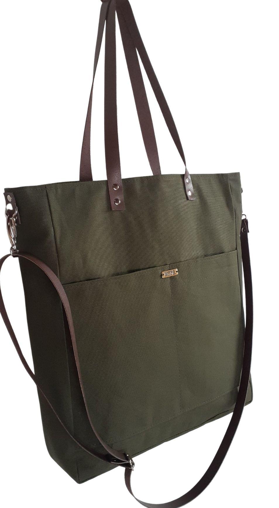 Bolsa verde militar feminina de tecido