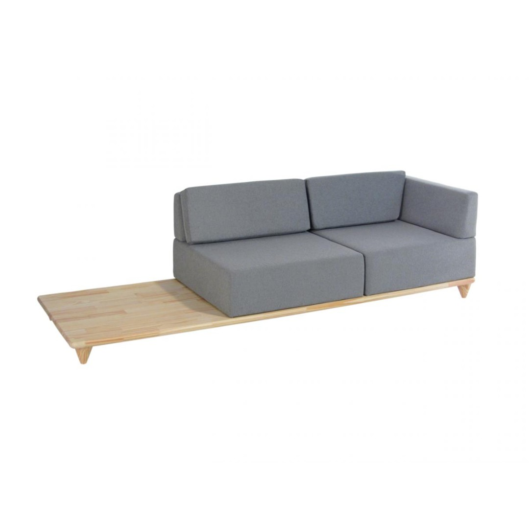 LAYER Sofá 3 lugares base madeira