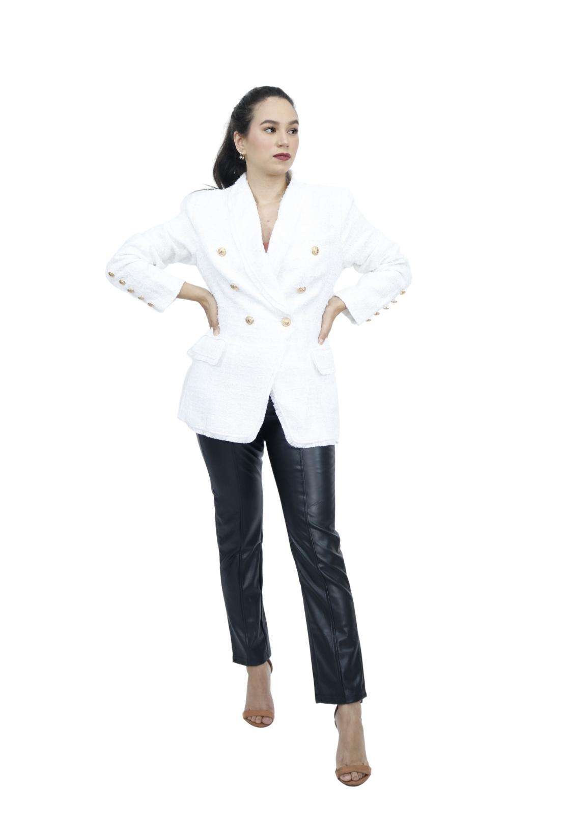Blazer Feminino Tweed Alongado Com Botões