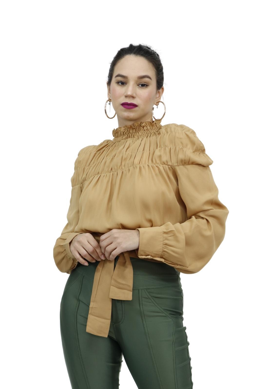Blusa Cropped Feminina Elástico Franzido e Laço