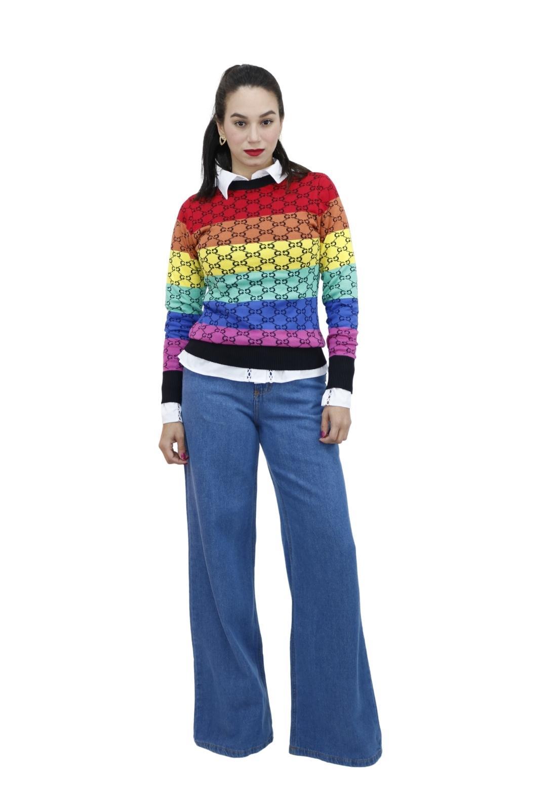 Blusa Feminina Tricot Estampa Colorida