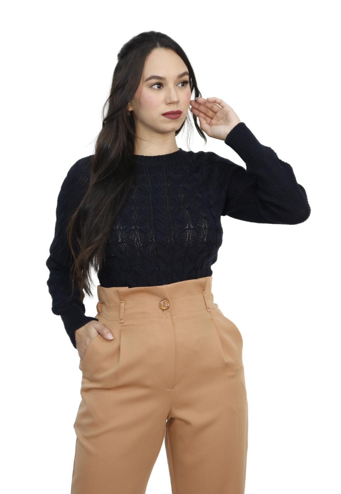 Blusa Feminina Tricot Manga Longa Detalhe Trancinhas