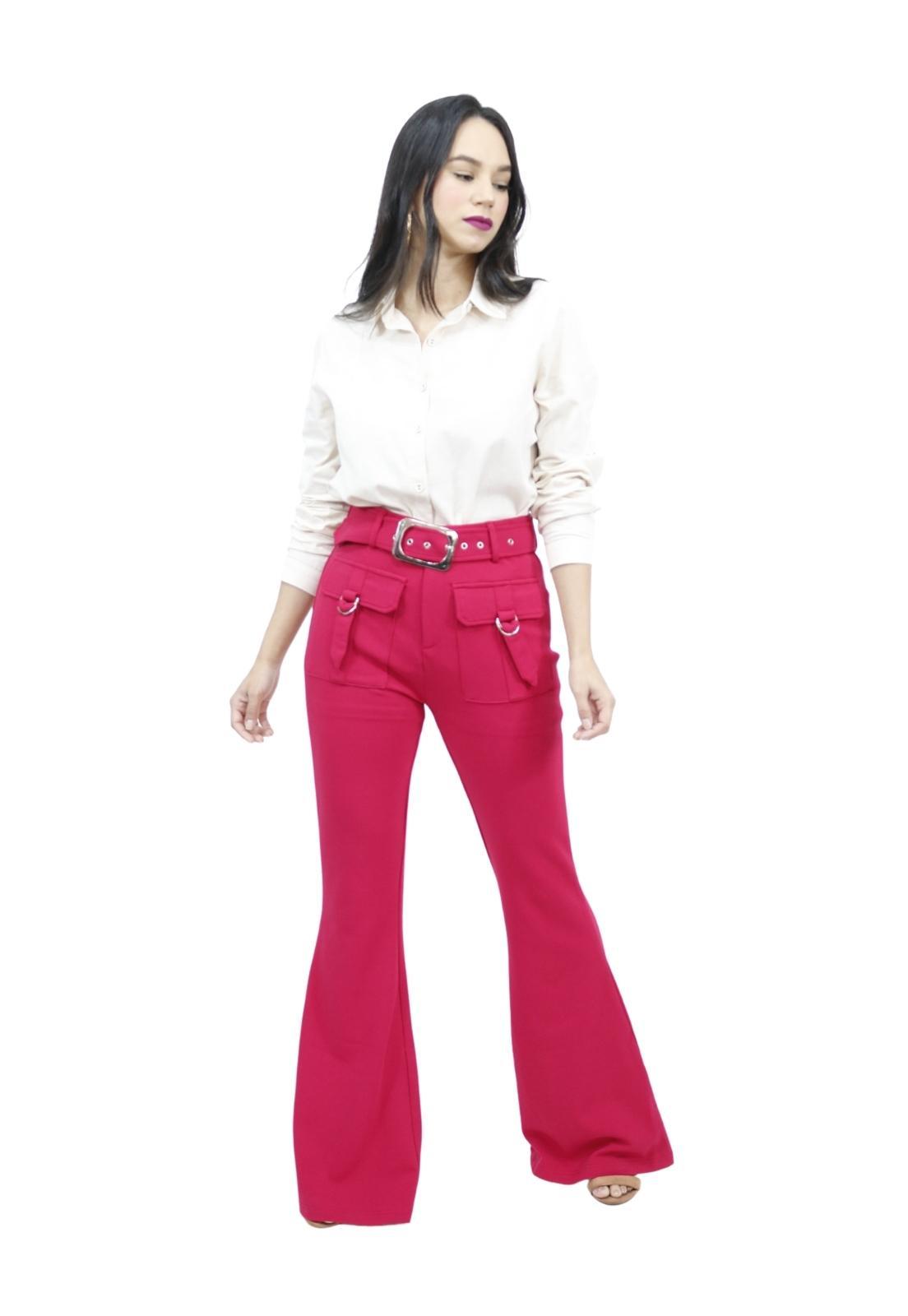 Calça Feminina Flare Elastano Com Cinto Removível Elegante