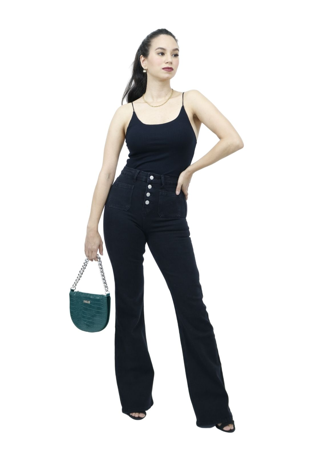Calça Feminina Jeans Black Flare Com botões