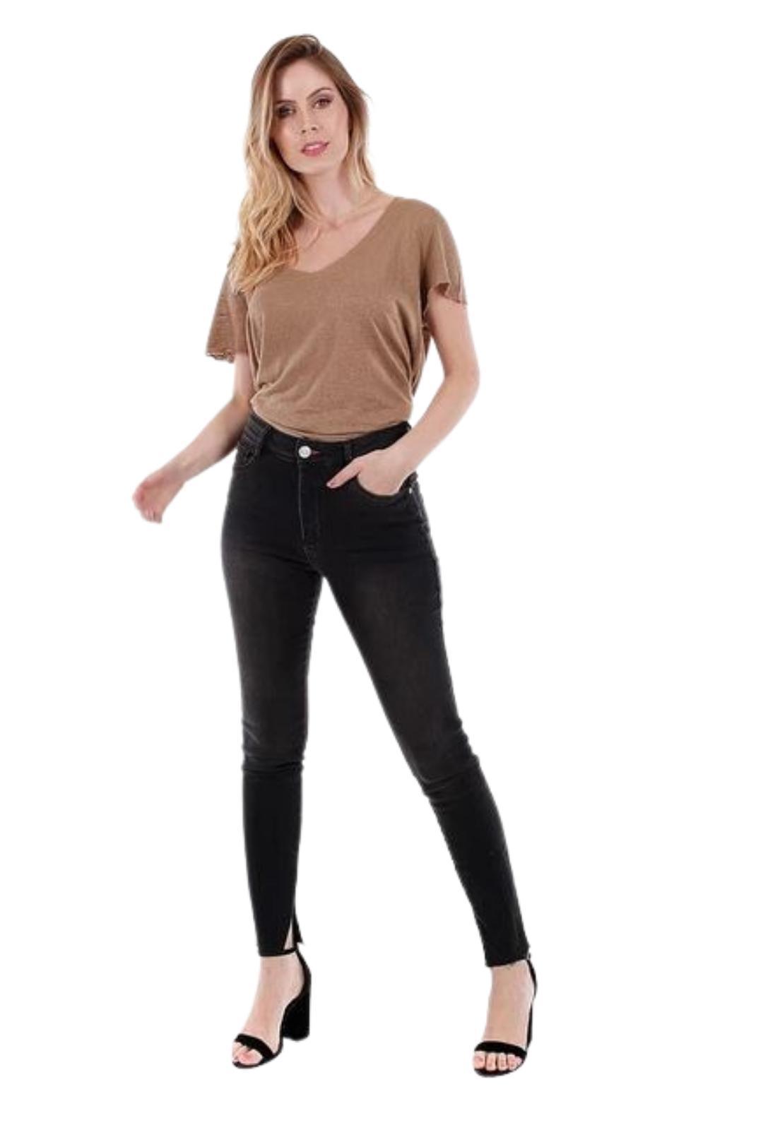 Calça Feminina Jeans Black Skinny Com Abertura Lateral