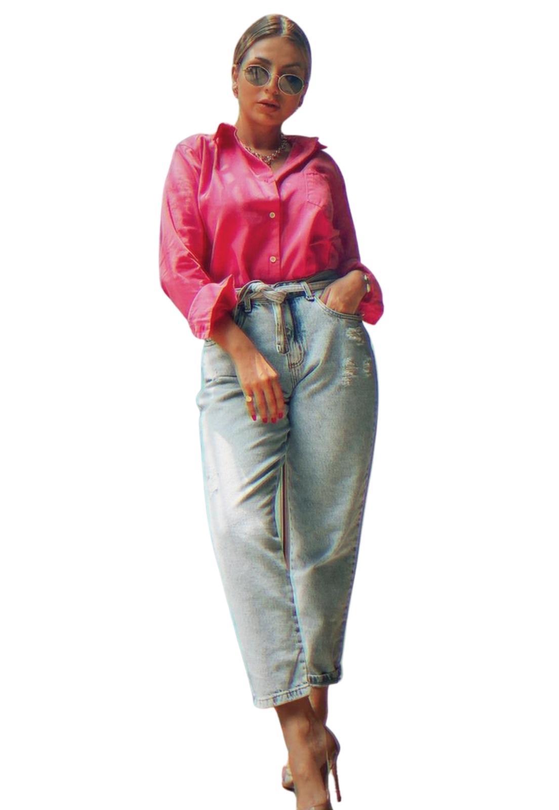 Calça Feminina Jeans Claro Mom Com Faixa