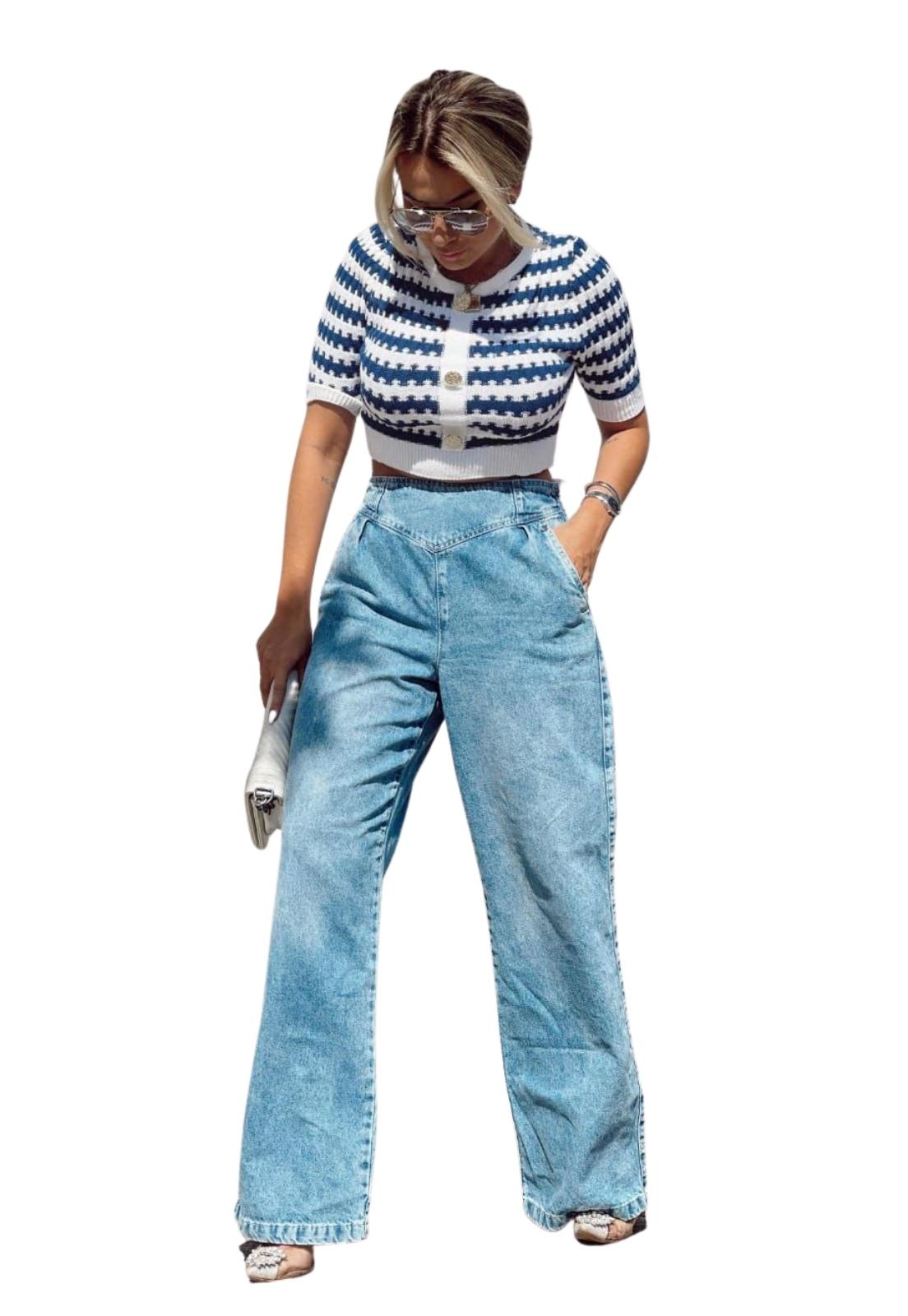 Calça Feminina Jeans Claro Pantalona Detalhe Elástico