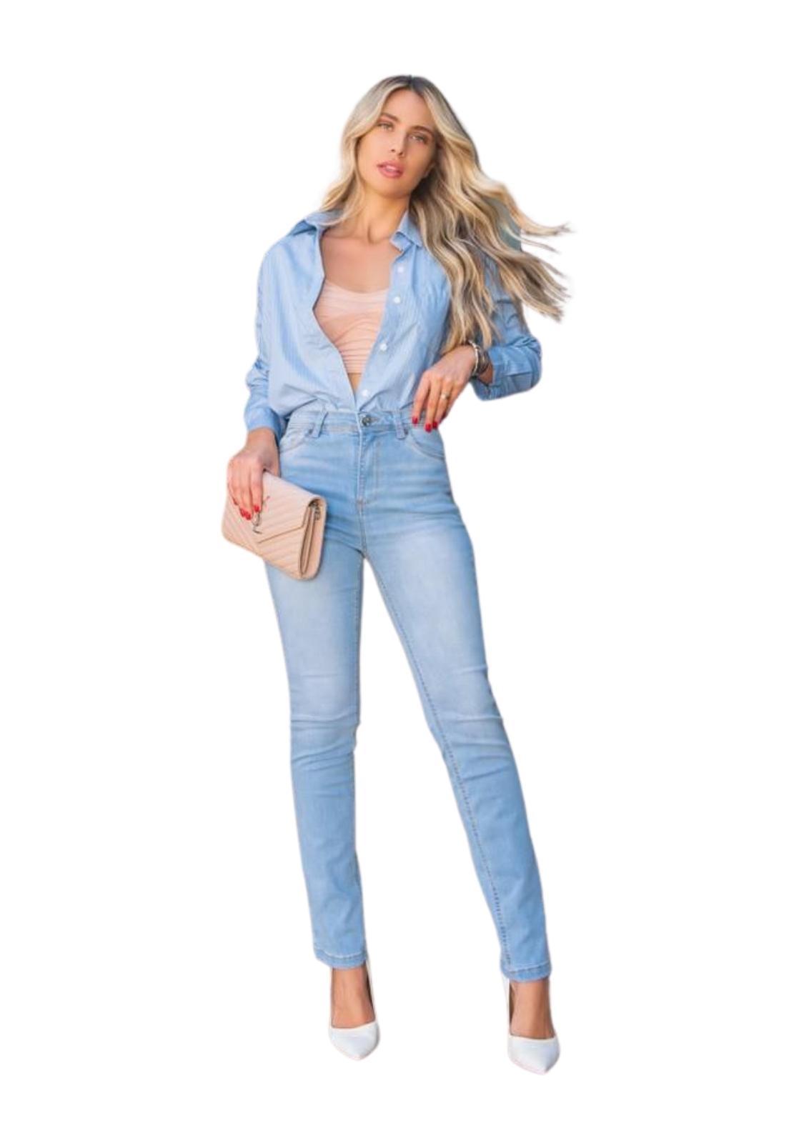 Calça Feminina Jeans Claro Skinny Cintura Alta com elastano