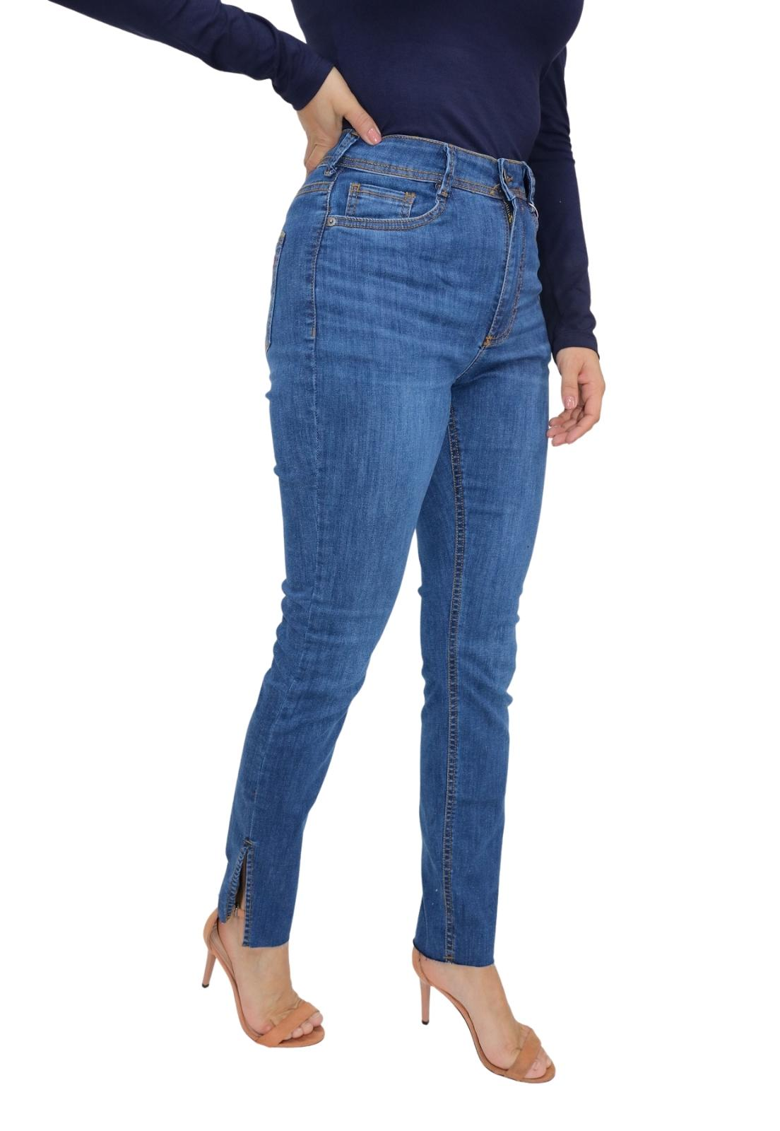 Calça Feminina Jeans Escura Skinny Elastano