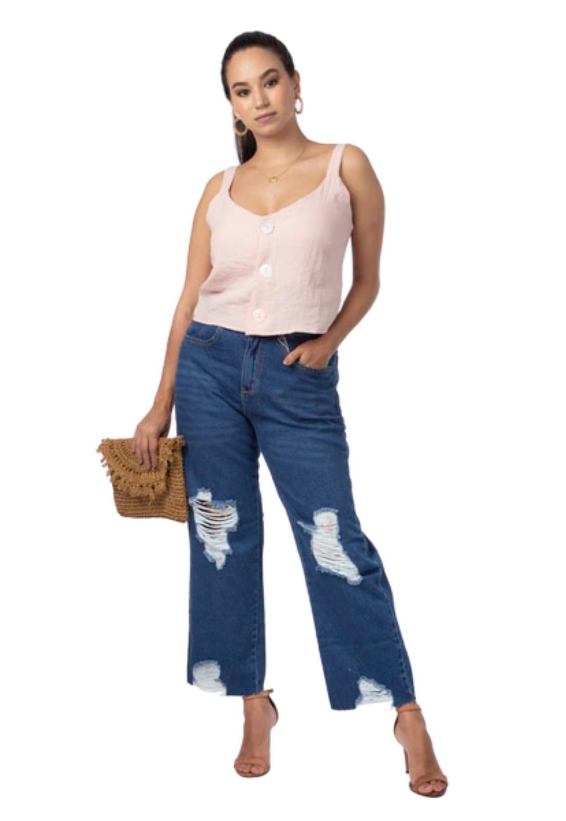 Calça Feminina Jeans Escuro Cropped Com Puídos e Destroyed