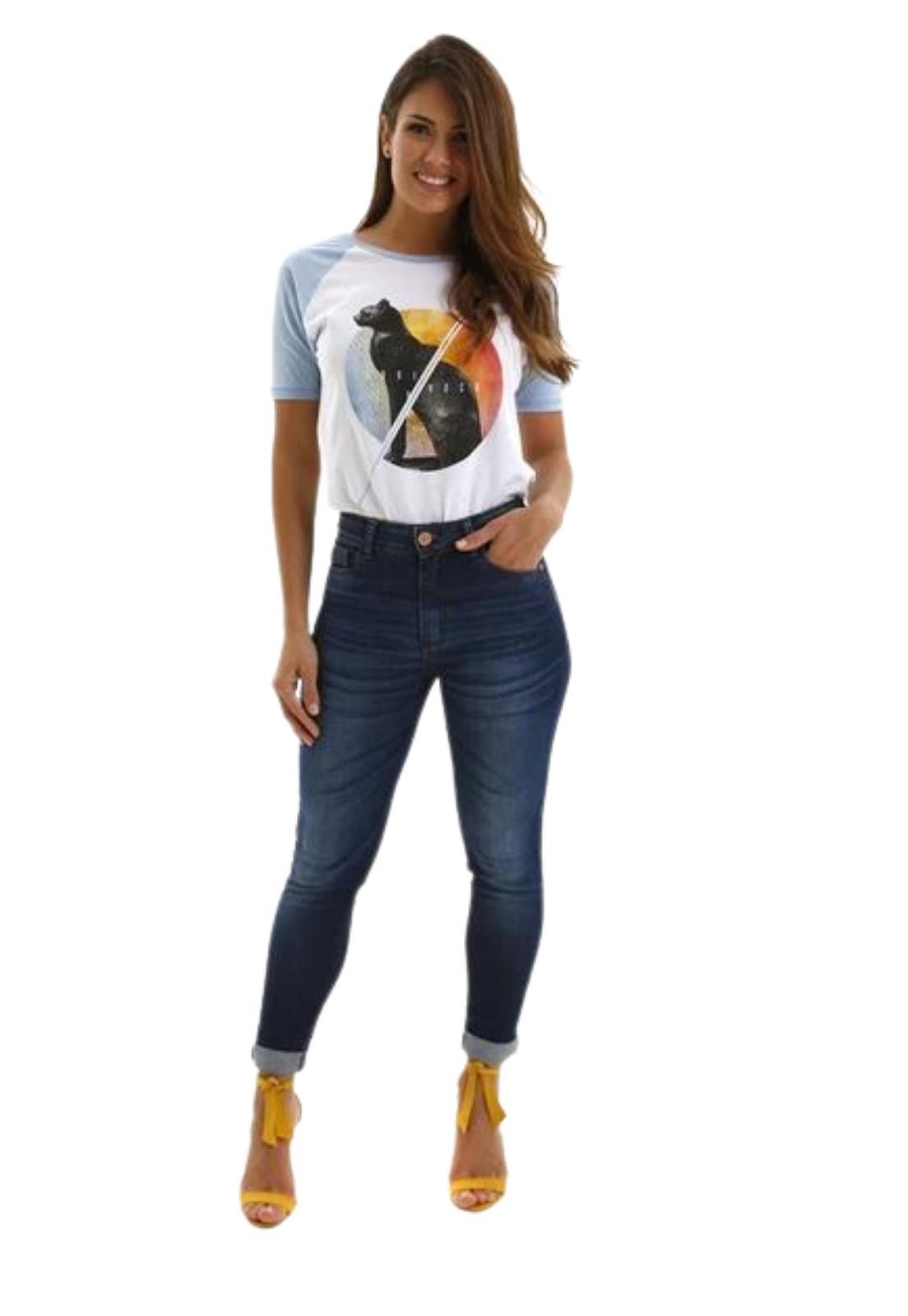 Calça Feminina Jeans Escuro Skinny Cintura Alta