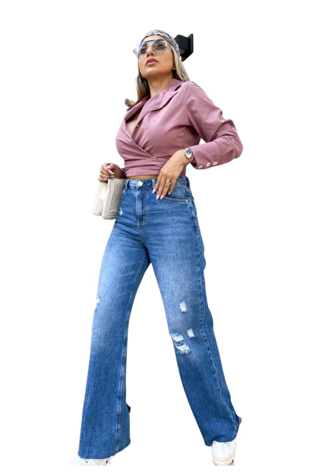 Calça Feminina Jeans Escuro Wide Leg Pantalona