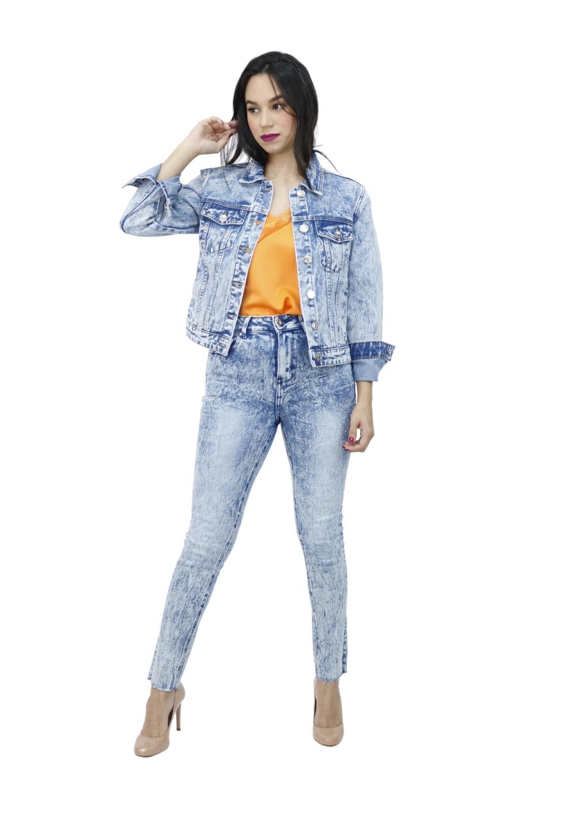 Calça Feminina Jeans Marmorizada Skinny Com Elastano