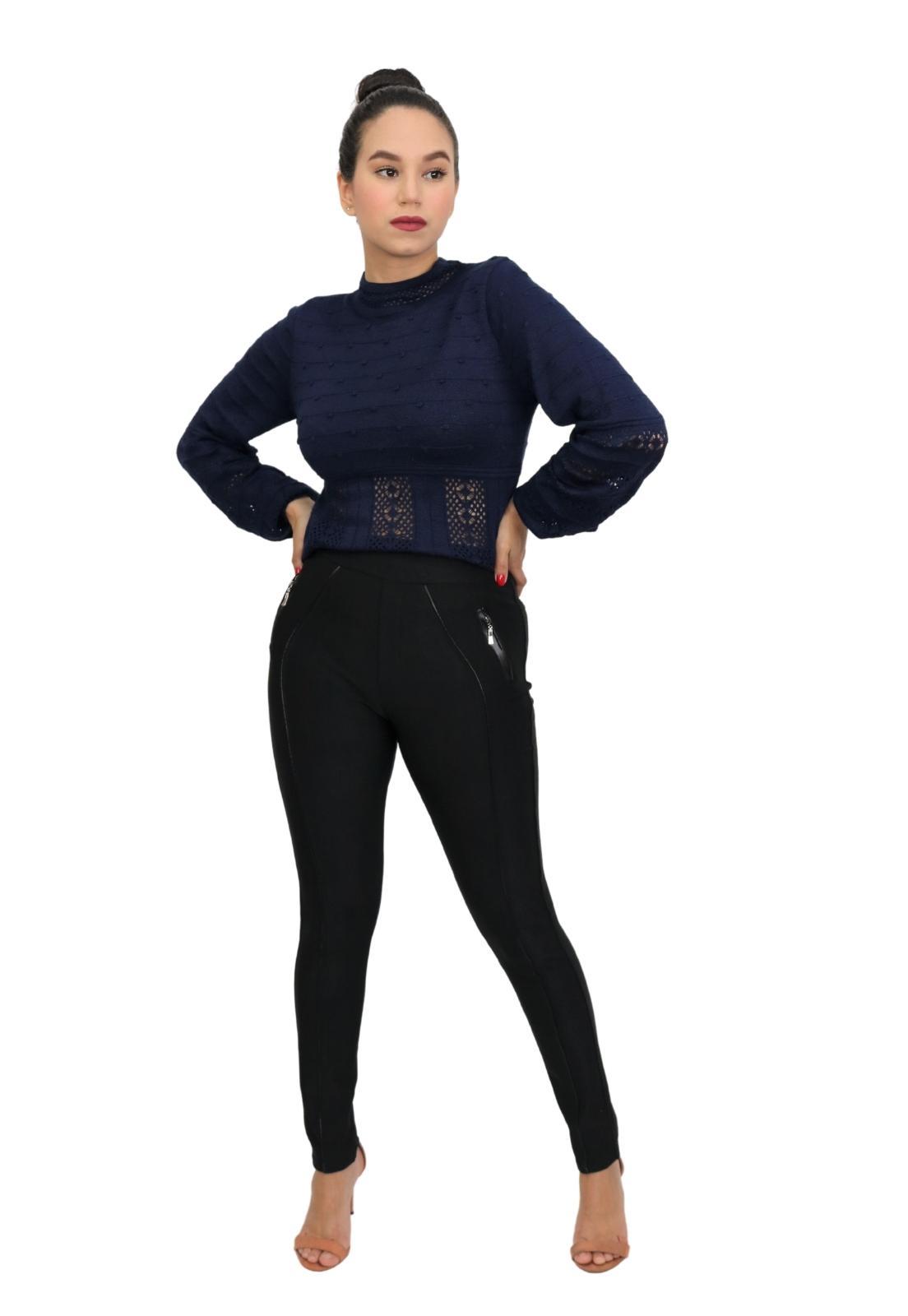 Calça Feminina Legging Skinny Detalhe Couro e Zíper