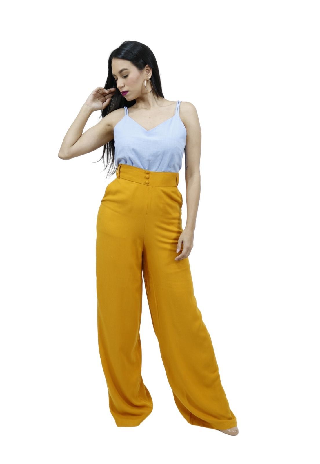 Calça Feminina Pantalona Alfaiataria Cintura Alta Elegante