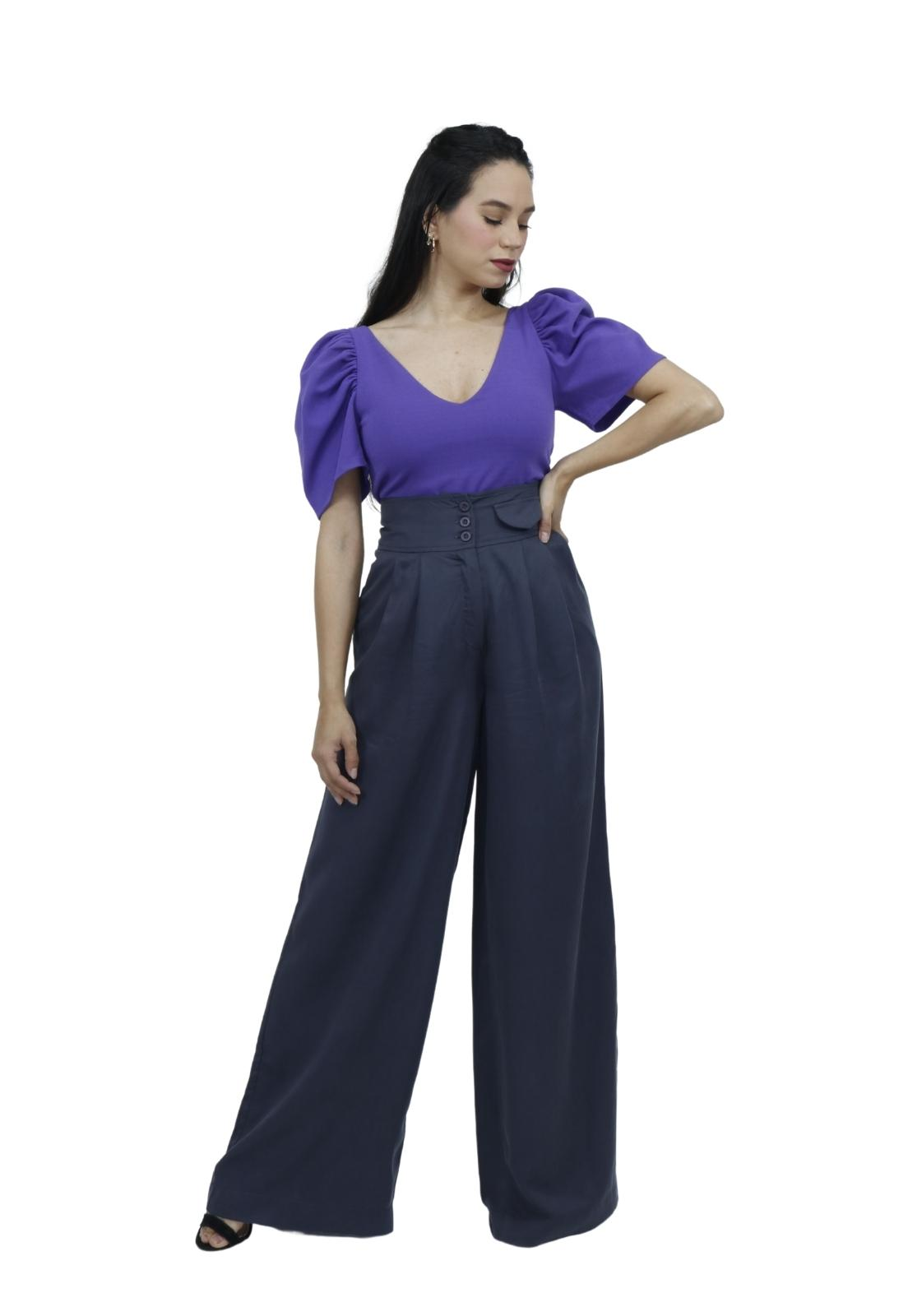 Calça Feminina Pantalona Cintura Alta Botões Elegante