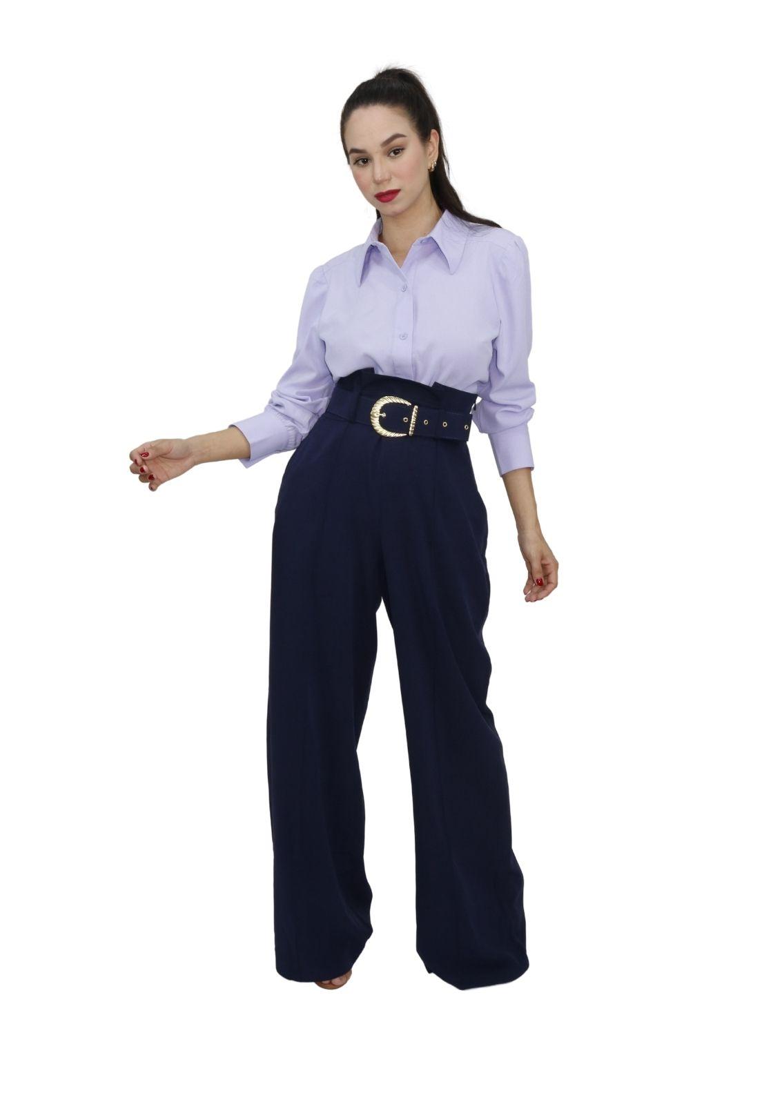 Calça Feminina Pantalona Com Cinto
