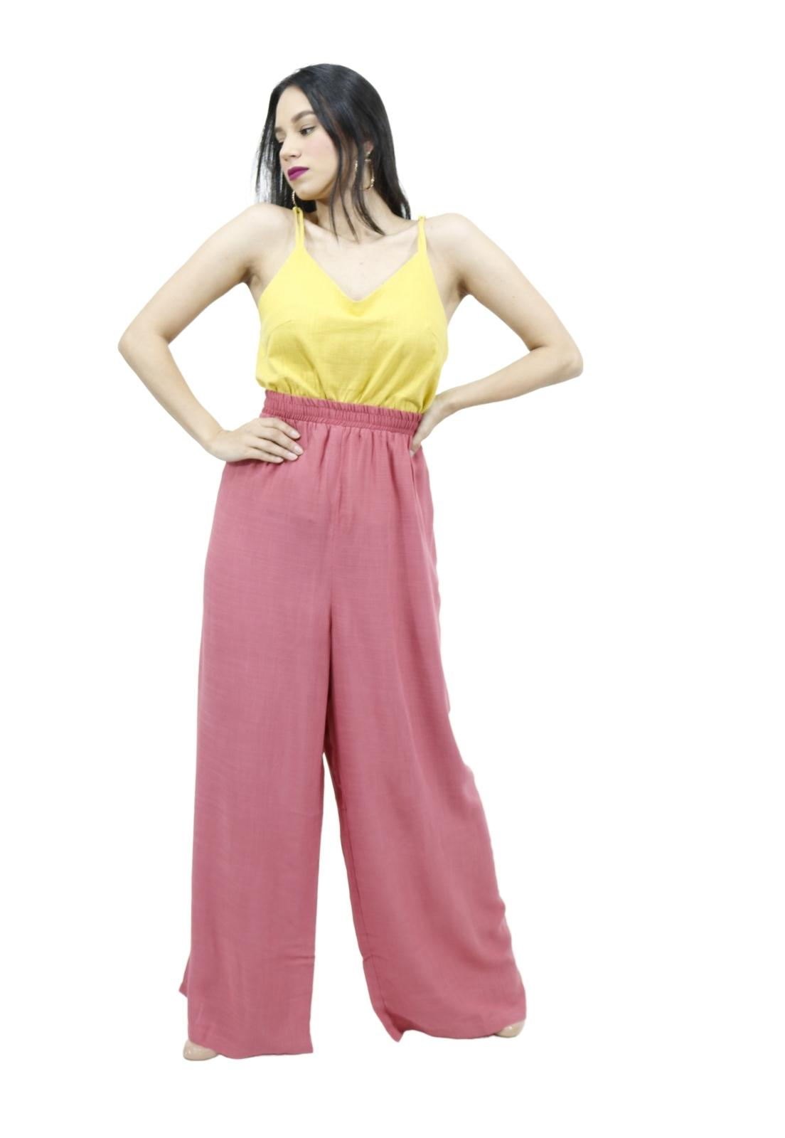 Calça Feminina Pantalona Fluida Com Elástico Na Cintura