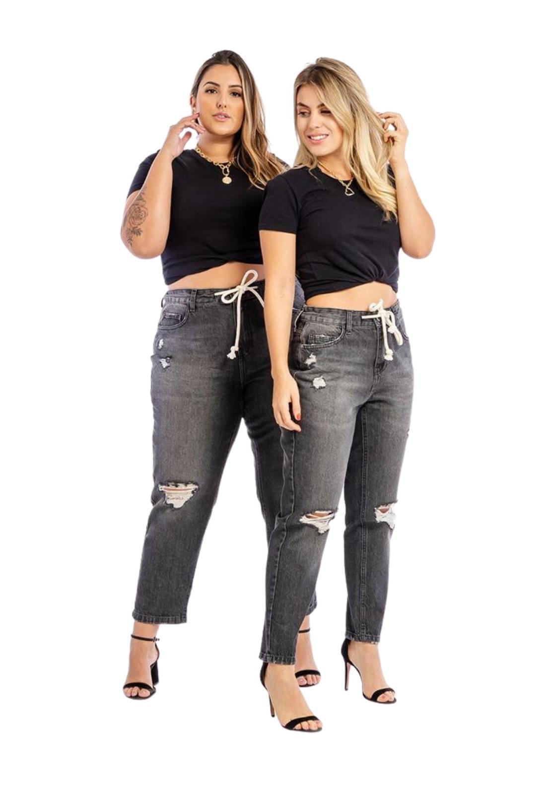 Calça Feminina Plus Size Jeans Black Com Cordão e Puídos