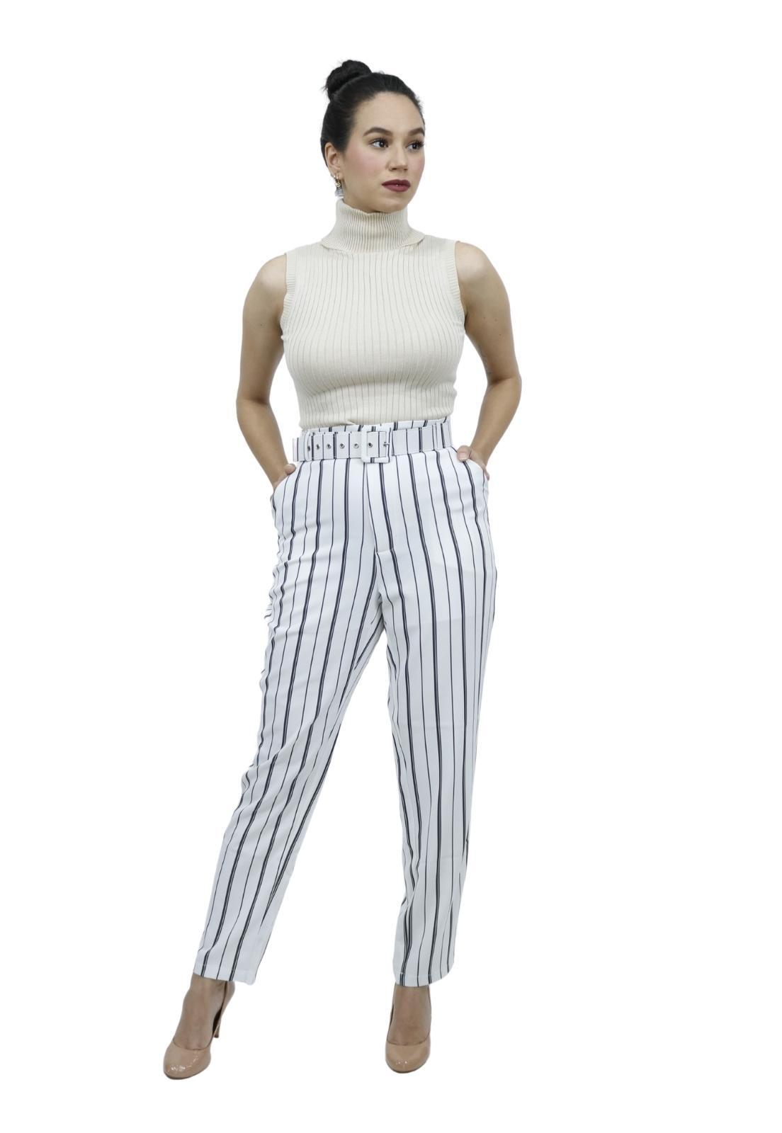 Calça Feminina Reta Alfaiataria Cintura Alta