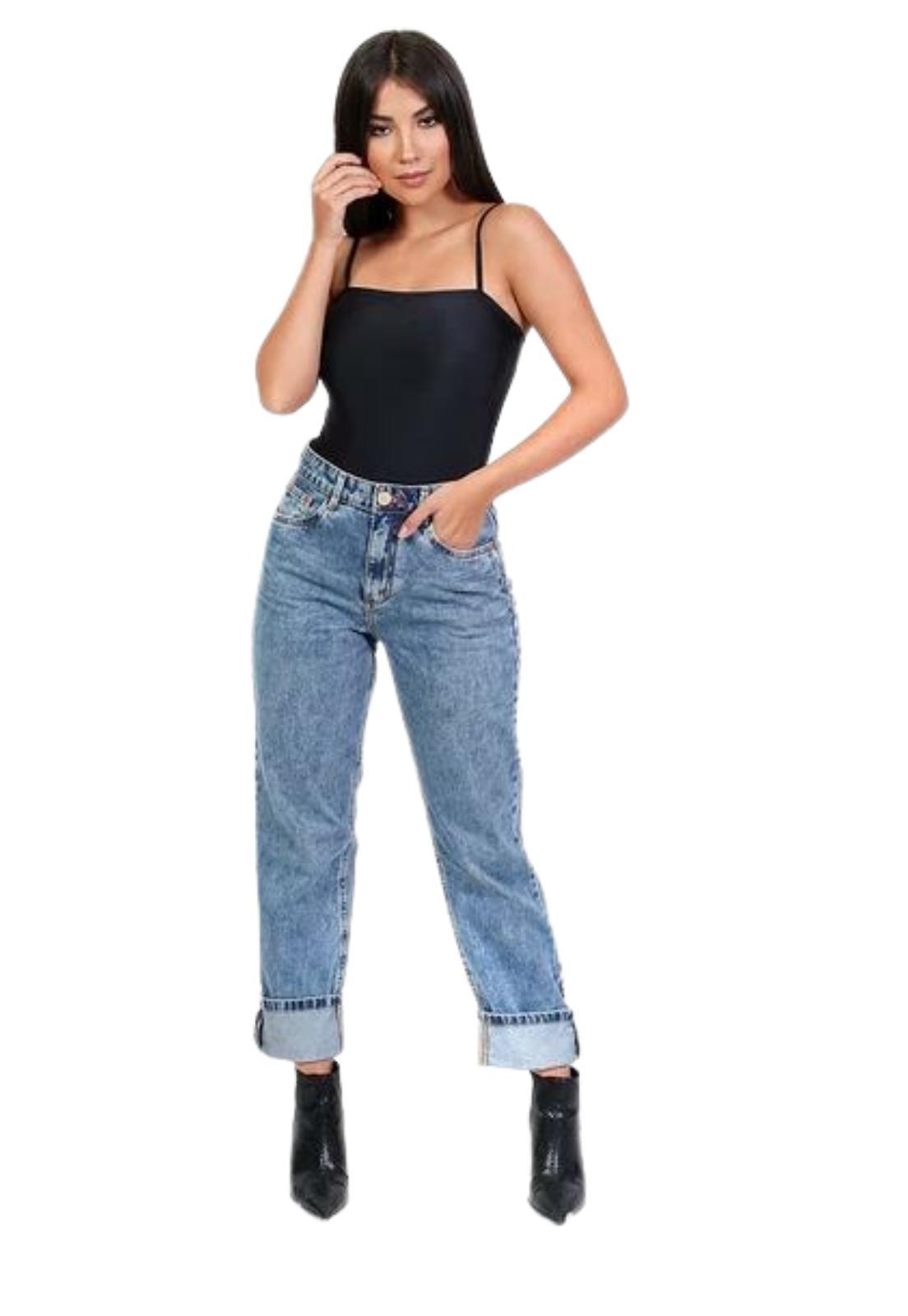 Calça Feminina Reta Jeans Lavado Cintura Alta