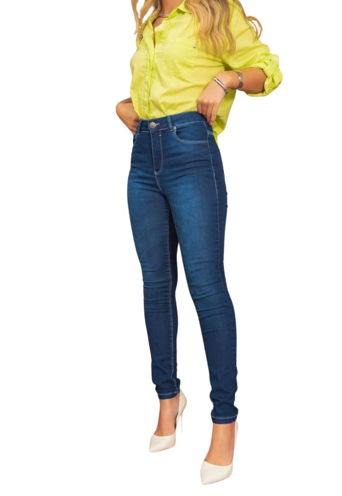 Calça Feminina Skinny Cintura Alta Jeans Escuro com Elastano