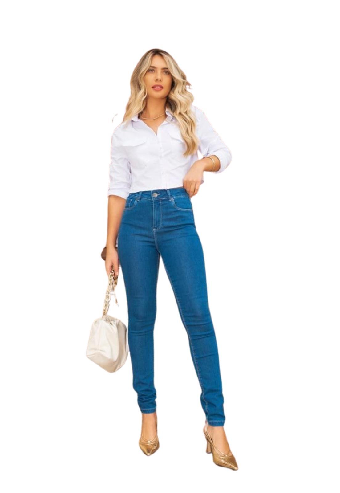Calça Feminina Skinny Cintura Alta Jeans Médio com Elastano