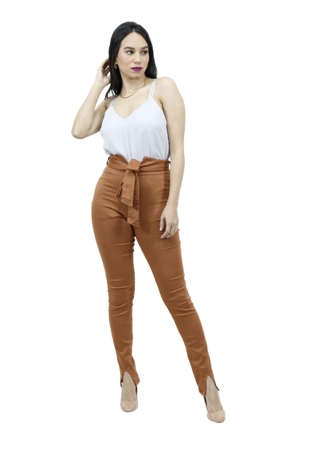 Calça Feminina Skinny Faixa Fixa Cintura Abertura Perna Sexy