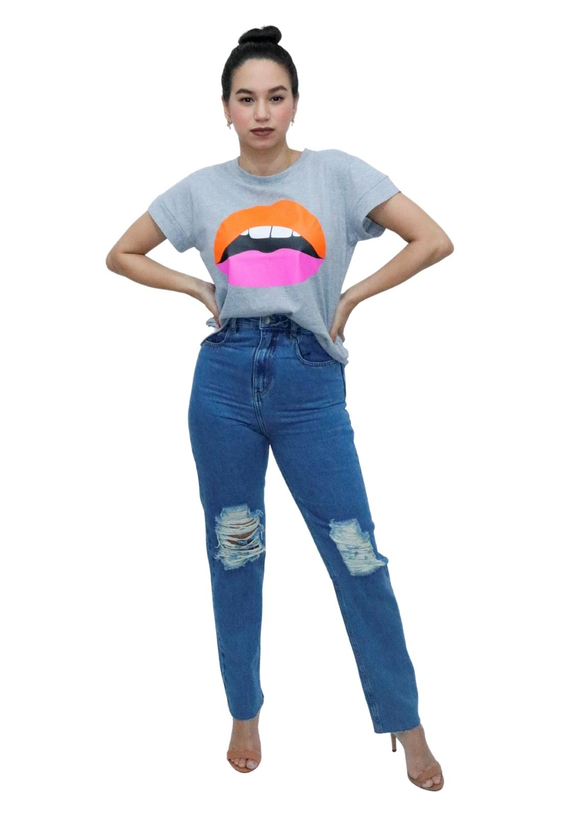 Calça Jeans Feminina Reta Cintura Alta Destroyed Puídos