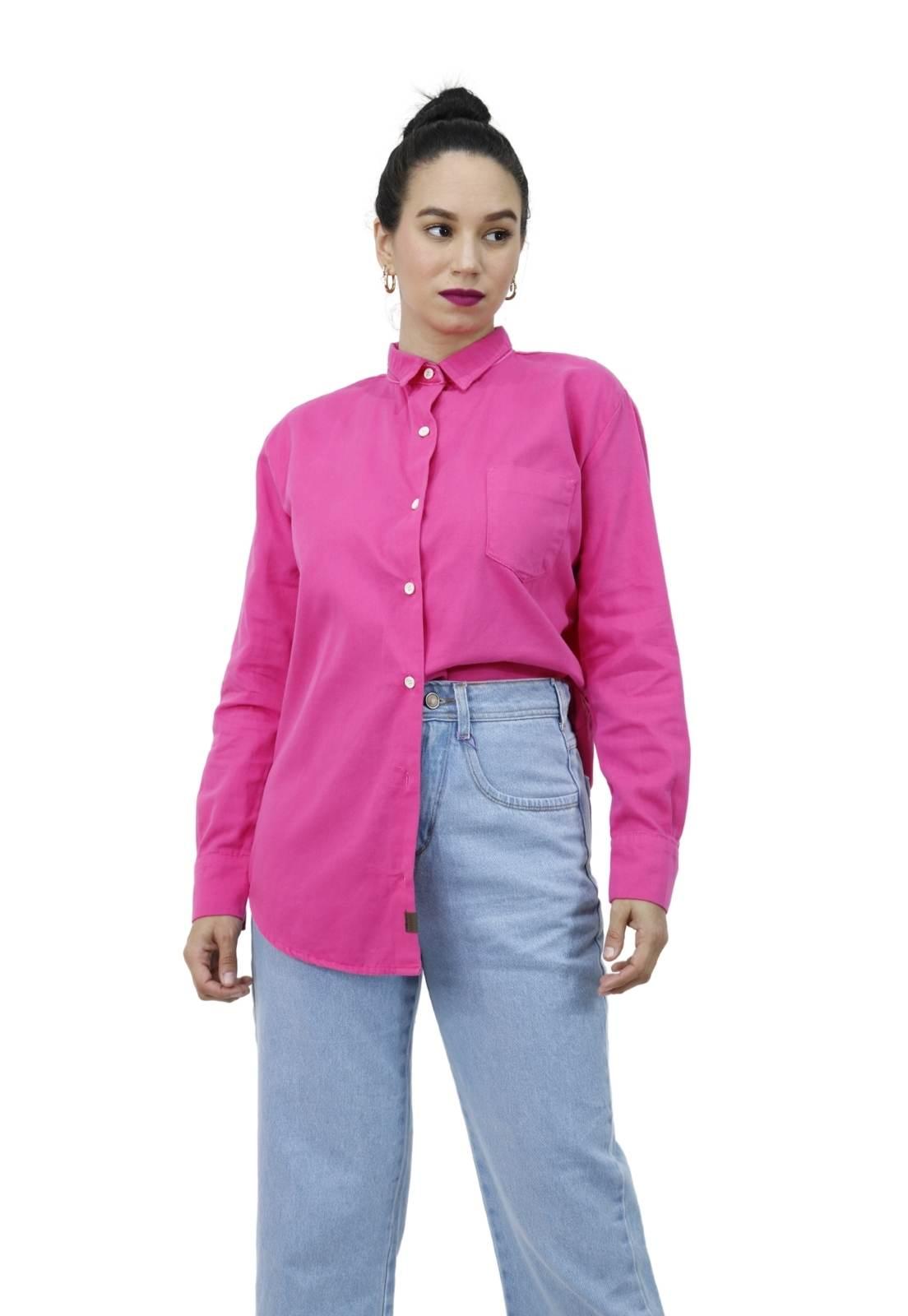 Camisa Feminina Algodão Manga Longa Ampla Oversized