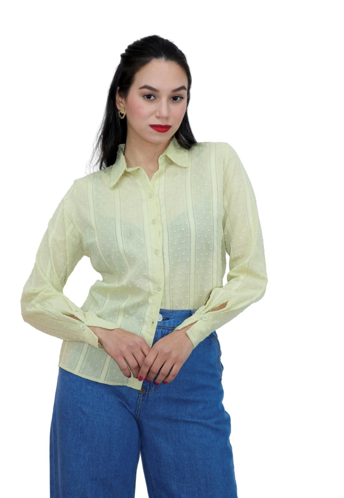 Camisa Feminina Alongada Chiffon Poá