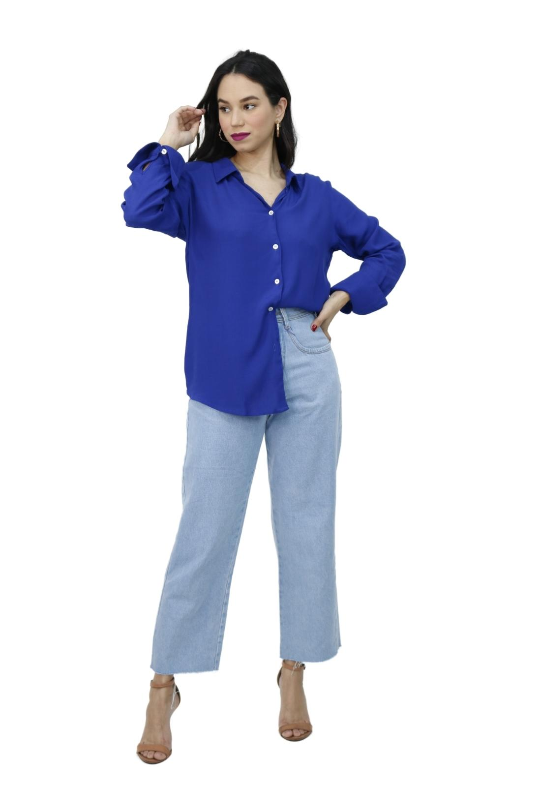 Camisa Feminina Alongada Manga Longa Crepe Botões Elegante