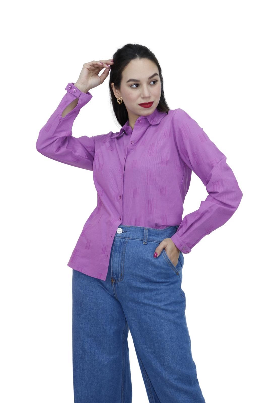Camisa Feminina Casual Manga Longa Botões