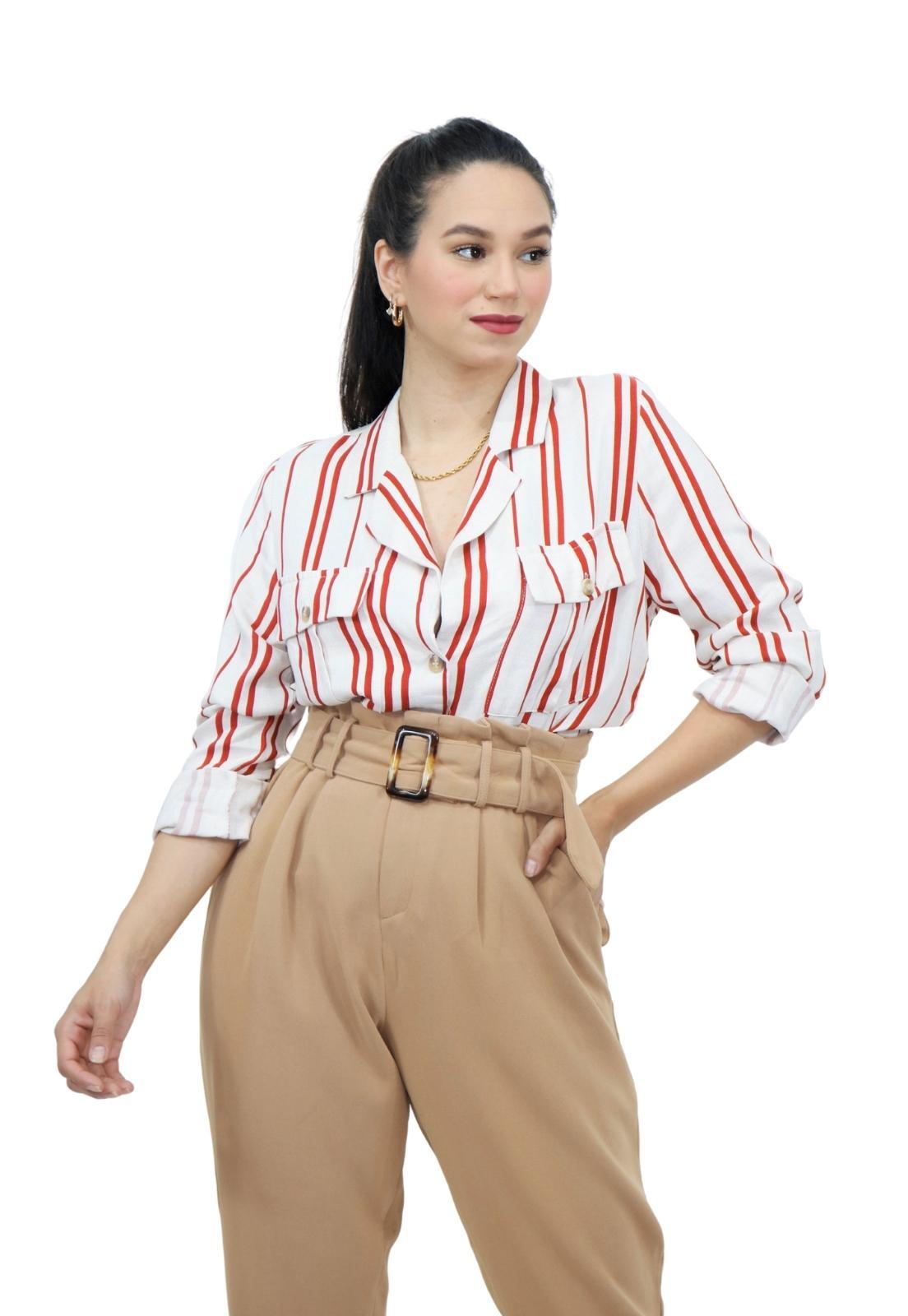 Camisa Feminina Curta Manga Longa Estampa Listra Elegante