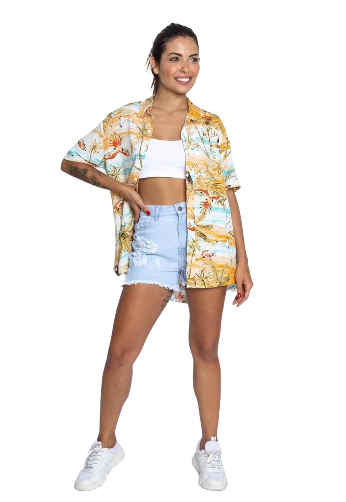 Camisa Feminina Estampada Alongada Manga Curta