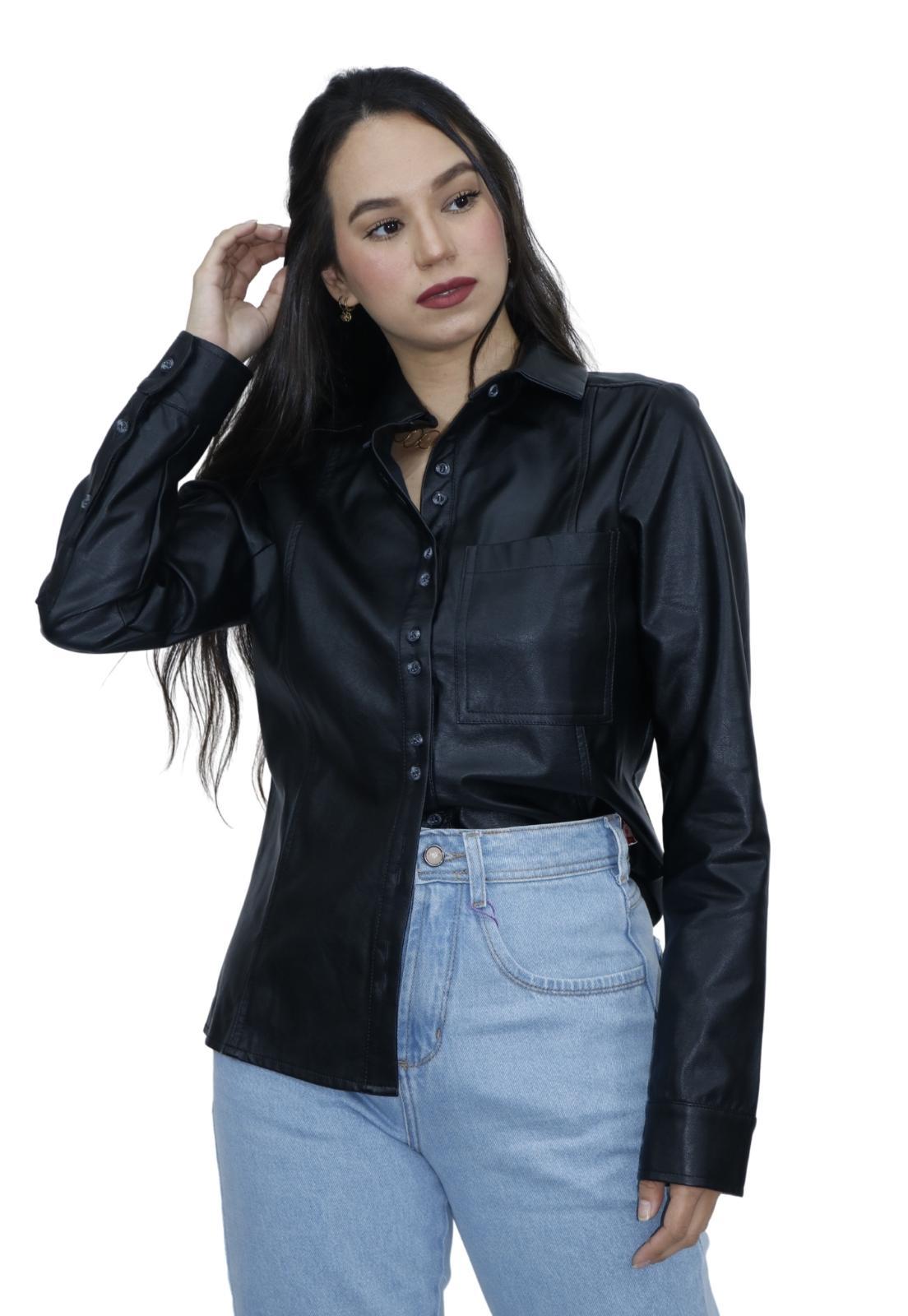 Camisa Feminina Manga Longa Material Sintético PU Bolso