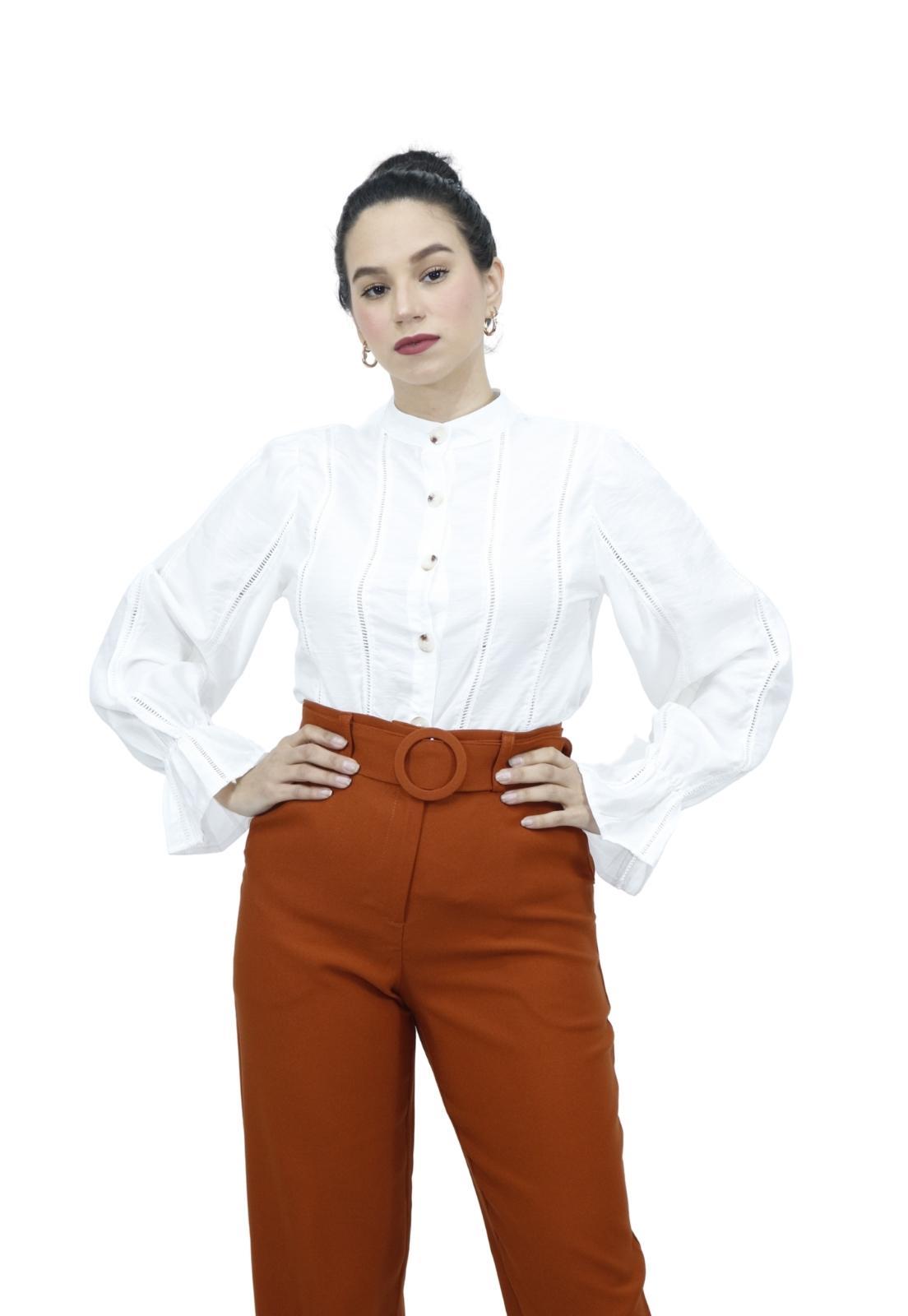 Camisa Feminina Manga Longa Punho Babado Renda Romântica