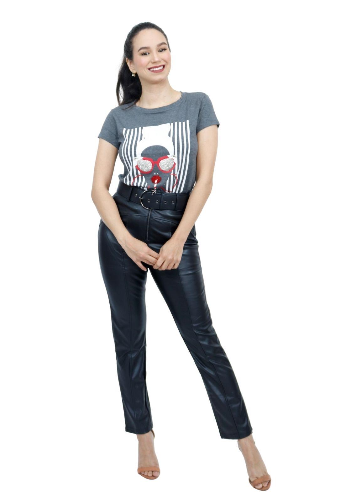 Camiseta Feminina T-Shirt Viscolycra Bordada Pedrarias