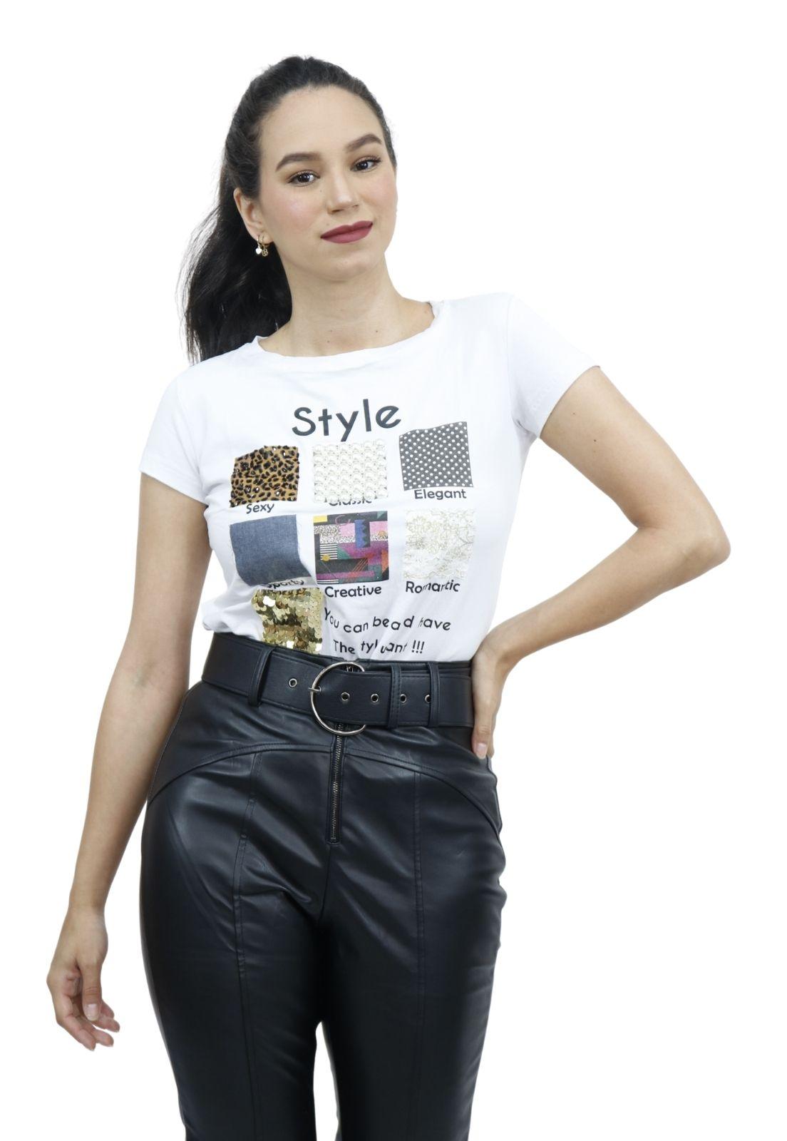 Camiseta Feminina T-shirt Viscolycra Bordado