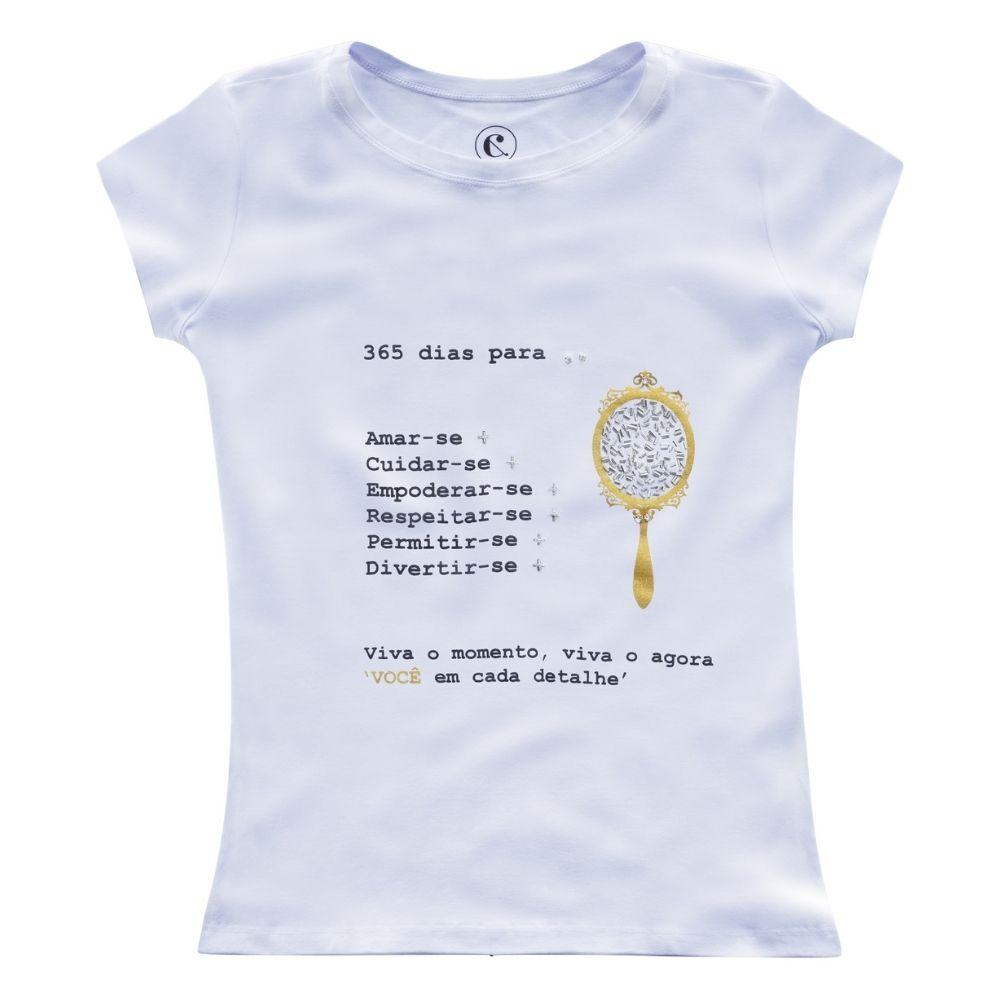 Camiseta Feminina T-shirt Viscolycra Detalhe Strass Pedraria