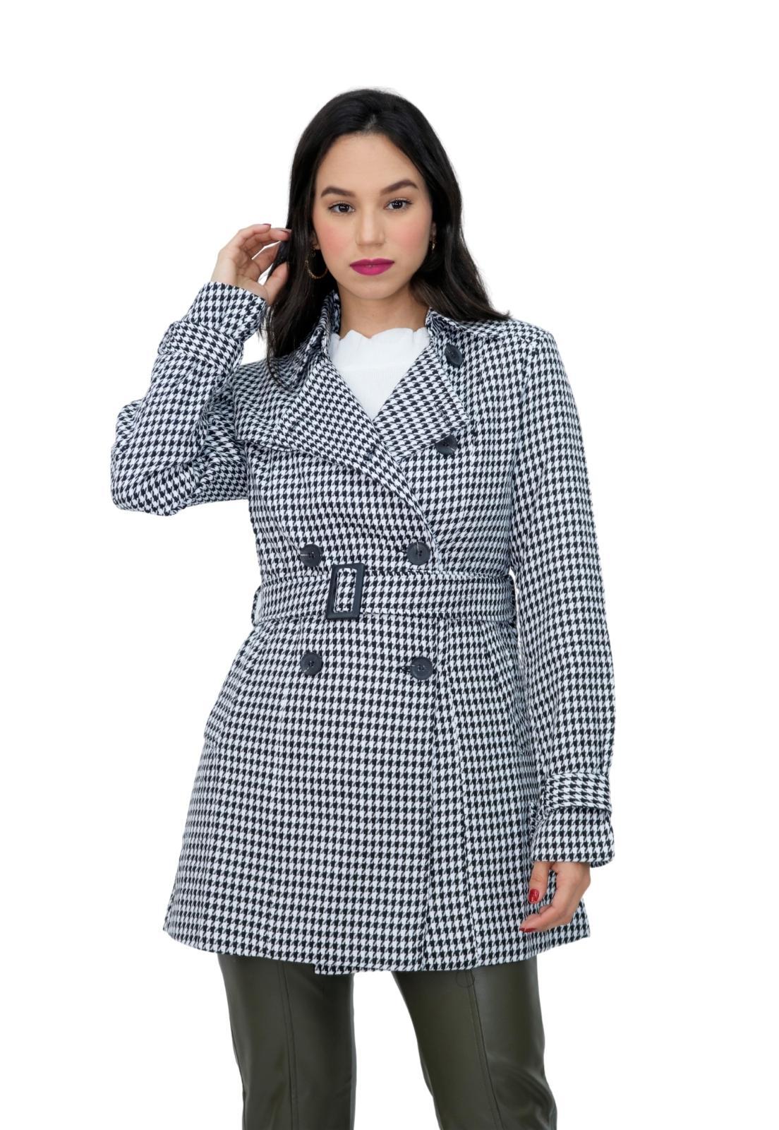Casaco Feminino Trench Coat Alongado Estampa Pied Poule