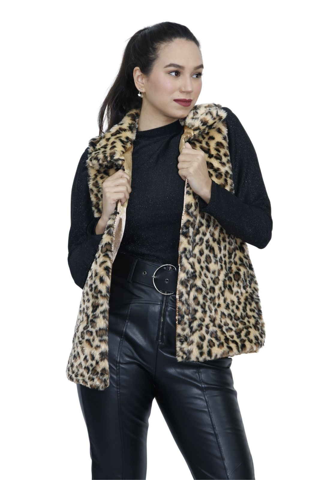 Colete Feminino de Pêlos Estampa Leopardo