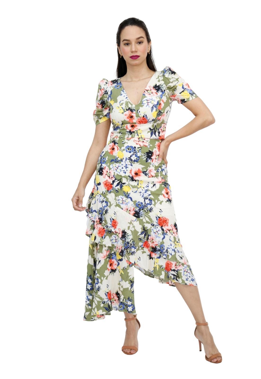 Conjunto Feminino Floral Assimétrico Babados