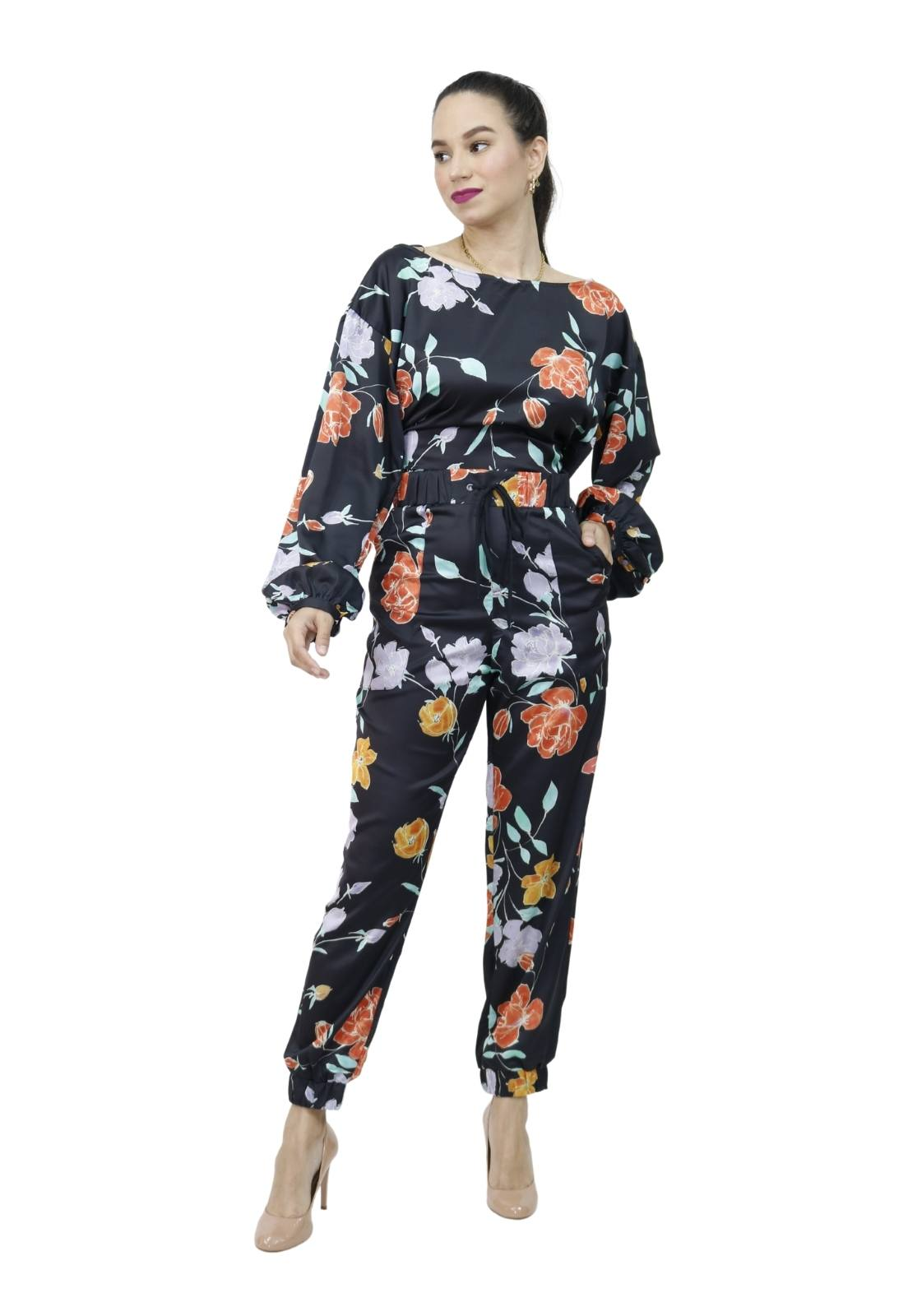 Conjunto Feminino Seda Blusa e Calça Jogging Estampa Floral