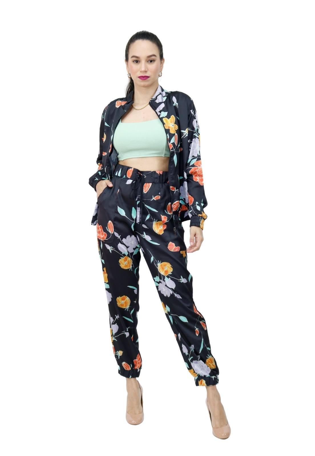 Conjunto Feminino Seda Bomber e Calça Jogging Estampa Floral