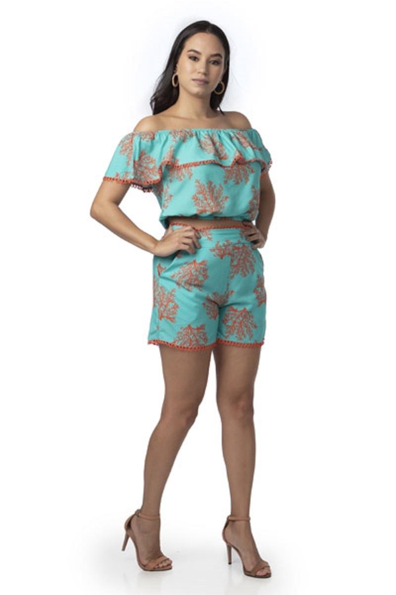 Conjunto Feminino Short Curto Blusa Ciganinha Estampado