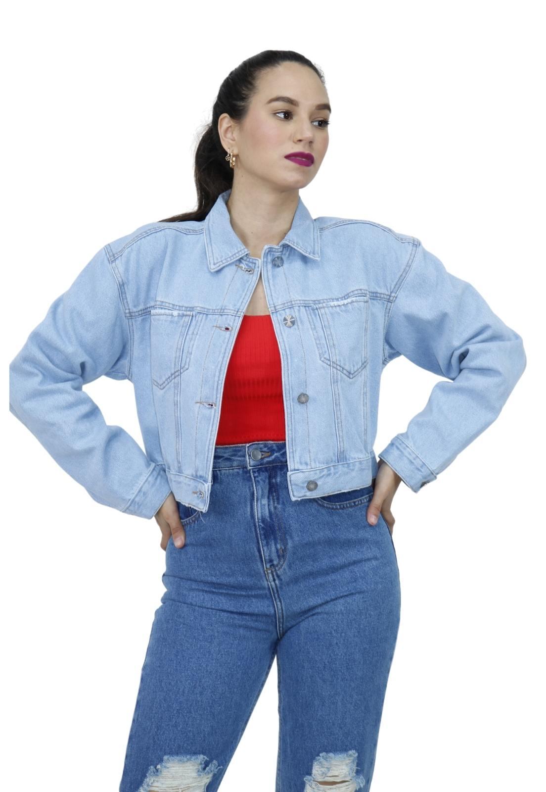 Jaqueta Feminina Cropped Jeans Claro Botões