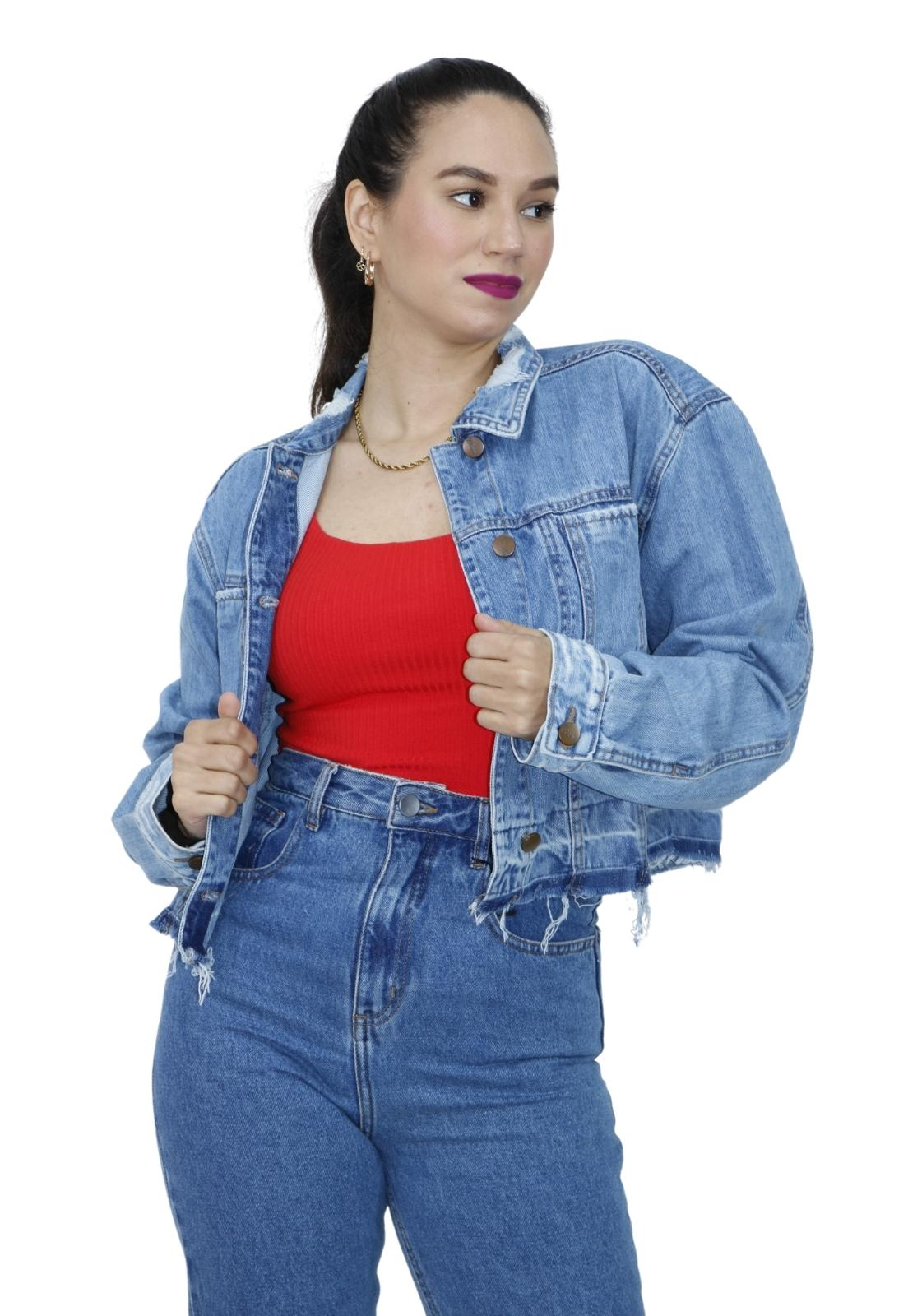 Jaqueta Feminina Cropped Jeans Médio Desfiada